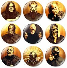 9 x Slipknot 32mm BUTTON PIN BADGES Heavy Metal Taylor Album Maggots Mask Masks