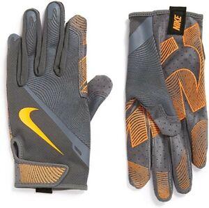 Nike Men's Lunatic Training Gloves wolf Grey/ Orange football wr cb  Men's Large
