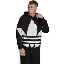 Adidas Originals Felpa da Uomo con cappuccio Big Trefoil Nera Taglia M codice FM
