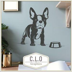 French Bulldog Puppy + Food Bowl Wall Sticker Vinyl Transfer Dog Home Art Decor