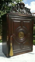 """Early 19thC Antique Neoclassical Style Wall Cabinet Cupboard ~Lock & Key~19""""Tall"""