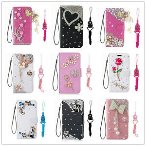 For LG Stylo 6 (2020) Leather Bling Rhinestone Card Stand Flip Wallet Phone Case