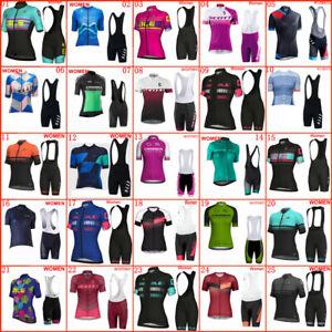 Women Short Sleeve Cycling Jersey Bib Shorts Set Summer Bike Outfits Sports Kits