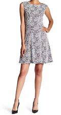 Adrianna Papell Sleeveless Fit & Flare Rose Pattern Dress Black Ivory Size 2