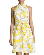 Diane von Furstenberg Tenner Halter Dress in Eden Garden Yellow Floral Size 14