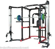 Power Rack Cage Lat Cable Cross Over Pec Dec + Flat Bench Heavy Duty