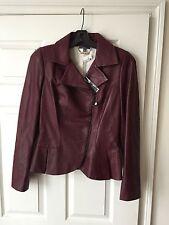 Alexander McQueen Burgundy Leather Peplum Asymmetrical Biker Jacket IT 44 $4790