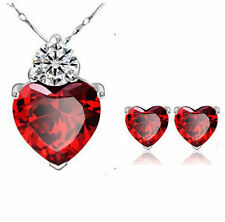 WELL Women Gold Plated Red Heart Crystal Jewelry Sets Wedding Necklace Earring