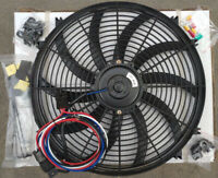 "16"" Universal Electric Fan Radiator Cooling Fan 12V 80W + Thermostat Relay Kits"