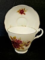 Royal Ascot Bone China Cup & Saucer England Pink Roses Scalloped Gold Trim-Nice!