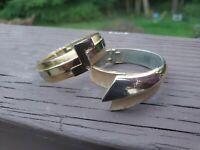 Pair Of Crown Trifari Clamper Bracelets Vintage Two Tone