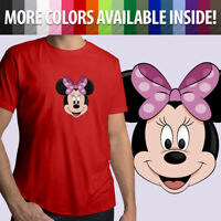 Minnie Mouse Face Head Disney Disneyland Cartoon Unisex Mens Tee Crew T-Shirt