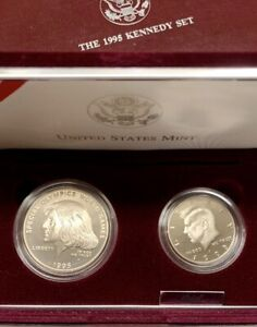 1995 US Kennedy 2 Coin Commemorative Proof Set w/ OG Packaging and COA