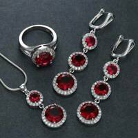 925 Silver Jewelry Set Women Red Crystal Pendant Necklace + Drop Earrings + Ring