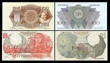 2x 25, 100 niederländische Gulden - Ausgabe 1947 - 4 alte Banknoten - 06