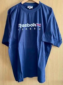 *VINTAGE* REEBOK Sport T-Shirt Tee Brand Corporate Design Logo, XL, navy, grau