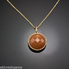 GEMSTONE NECKLACE - SLICED SAPPHIRE  & 0.50 CT. DIAMOND PENDANT 14K YELLOW GOLD