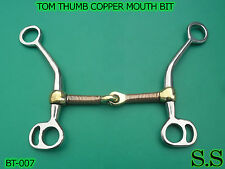 """TOM THUMB STAINLESS STEEL LONG SHANK SNAFFLE / COPPER MOUTH BIT 5"""" BT-007"""