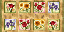 Block Party Floral Flowers Panel Cotton Quilting Fabric - 60cm x 110cm
