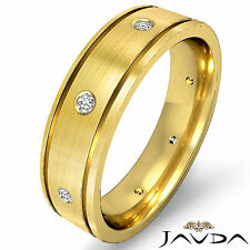 Mens Band 18k Yellow Gold 0.15Ct Dome Flat Edge Ring Eternity Wedding Diamond