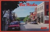 Main Street Bar Harbor Maine ME street view cars autos postcard