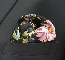 Hankie Pocket Square Handkerchief Black Rose & Daisy - Premium Cotton - UK Made