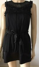 New AX PARIS Black Frilly Crew Neck Sleeveless Evening Party Dress Size 10