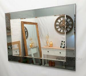 John Lewis Marietta Rectangular Wall Mirror 100x61cm Grey / Smoked Glass