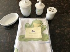 New 5pc Pottery Barn Kids Frog Froggy Shower Curtain Bath Set