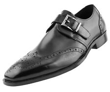 Men's Monstrap Dress Shoes, Genuine Leather Wing Tip Dress Shoes for Men