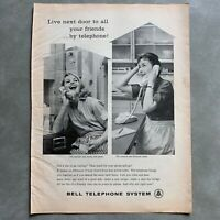 Vintage Bell Telephone Wall and Princess Phone Photo Print Magazine Ad 1961