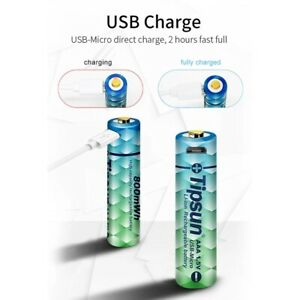 TIPSUN AAA LITHIUM Micro USB rechargeable BATTERY 1.5V Li-ion 540mAh Cable x 2