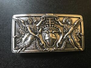 Unisex,Angels,Cross & Crown &Shield.Christian themed belt buckle.Silver plaited.