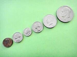 USA SET OF 6 CIRCULATED COINS VARIOUS DATES  1 5 10 25 50 Cents  $1 Dollar #2