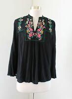 Ann Taylor Loft Black Floral Embroidered Bell Sleeve Peasant Top Blouse XSP PXS