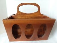 Vintage Solid Wood Magazine Rack With Handle Newspaper Record Album Holder Decor