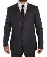NEW $2700 DOLCE & GABBANA Gray MARTINI 3 Piece Slim Fit Suit Tuxedo EU56 / US46