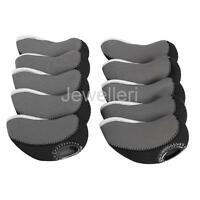 10pcs Golf Iron Club Covers with Plastic Window Suit Most Brand - Black