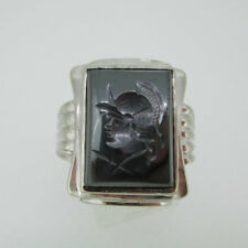 10k White Gold Hematite Intaglio Men's Ring Size 8 1/2