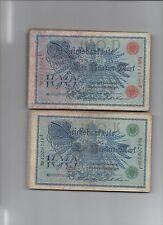 papiergeld deutschland  100x100 Mark 1908, Siegel rot und grün normale Erhaltung