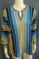 Woolco Stroller Womens L Stripes Hippie Boho Sweater Vintage 60s 70s