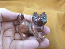 Y-CAT-WA-707) Red Jasper KITTY CAT walk gemstone STONE carving figurine gem cats