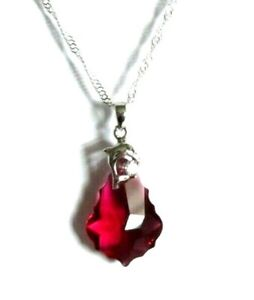 Sterling silver & Swarovski crystal drop Pendant Necklace  *in a gift box*