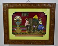 South American Peru Folk Art Embossed & Hand Painted Metal Framed Art