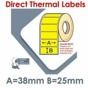 38mm x 25mm YELLOW Direct Thermal Labels 2,000 per roll for small printers