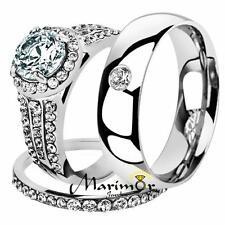 His & Her 3 Pc Stainless Steel 2.45 Ct Cz Bridal Set & Men Zirconia Wedding Band