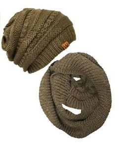 EVRFELAN Winter Warm Knitted Infinity Scarf and Beanie Hat Set Camel Knit Scarf