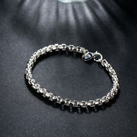 925 Sterling Silver Charm Round Bangle Women's Fashion Heart Bracelet DLH157