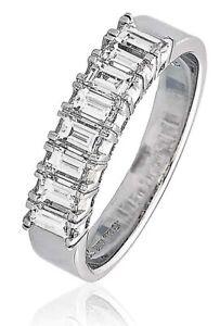 1 Ct D-F/VS Baguette Cut Diamond Half Eternity Anniversary Ring  18k White Gold