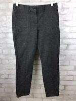 J. Crew Women's Herringbone Tweed Charcoal Stretch Skinny Ankle Pants Size 10